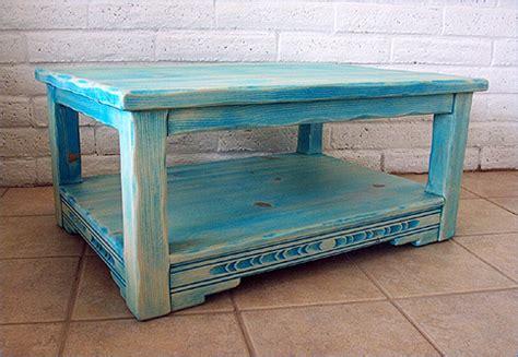 teal wood coffee table southwest furniture southwestern living room furniture