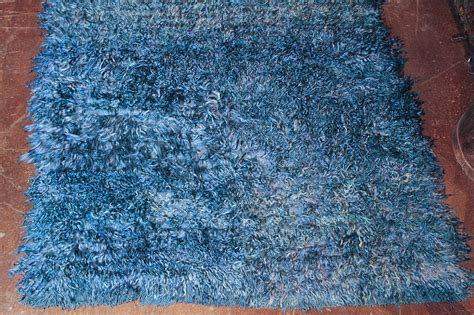 Blue Shaggy Rugs by Vintage Blue Shaggy Rug At 1stdibs