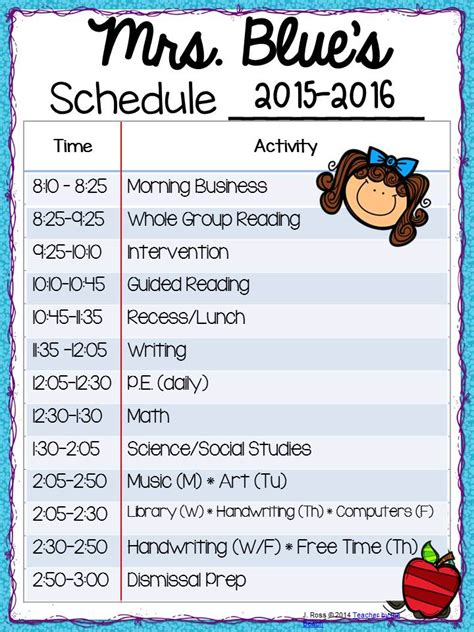 Daily Schedule For Second Grade Classroom Homeshealth Info Second Grade Schedule Template