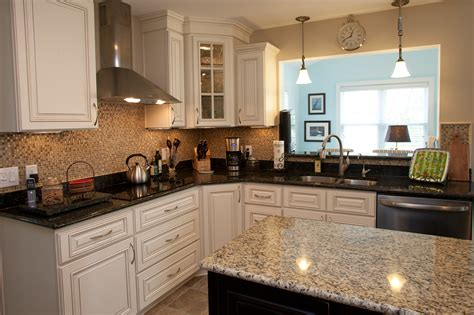 kitchen island granite countertop new kitchen in newport news virginia has custom cabinets