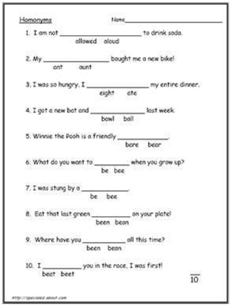 10 free printable homonym worksheets homeschool giveaways