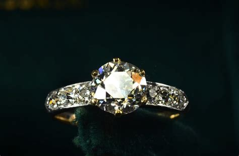 sparkly vintage engagement ring pave band onewed