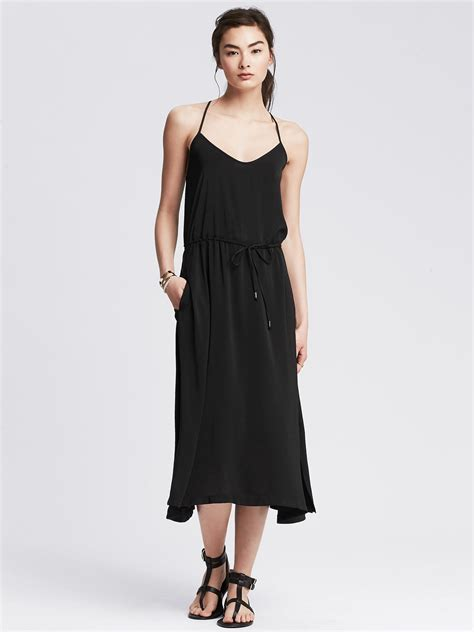 Banana Dress banana republic racerback midi dress in black lyst