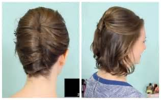 put up hair styles for thin hair french twist half updo for short hair youtube