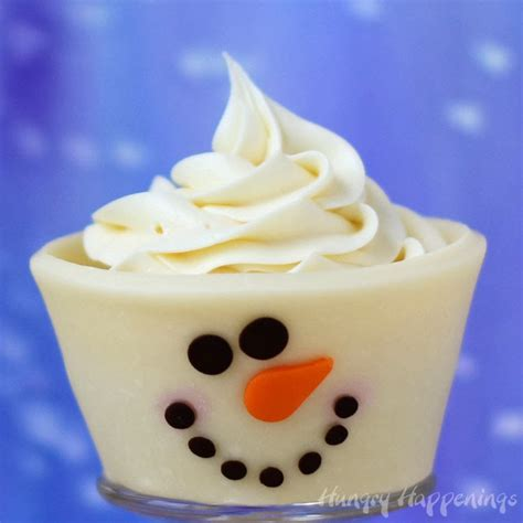 cute christmas desserts edible cupcake wrappers white chocolate snowman hungry