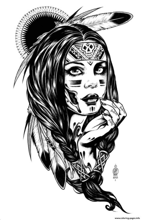 print adult native indian american woman coloring pages