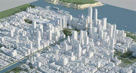 big cityscape model white  city buildings detailed skyline polygoncity
