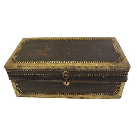 small brass studded leather camphor box la