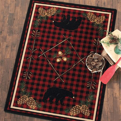 black forest home decor adirondack plaid bear rug 3 x 4
