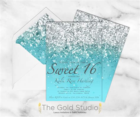 Disco Blue Sweet 16 Invitations Sweet 16 Invitation Sweet Sixteen Blue Glitter Invite
