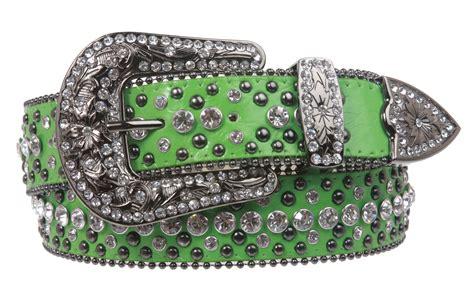 western style rhinestone leather belt