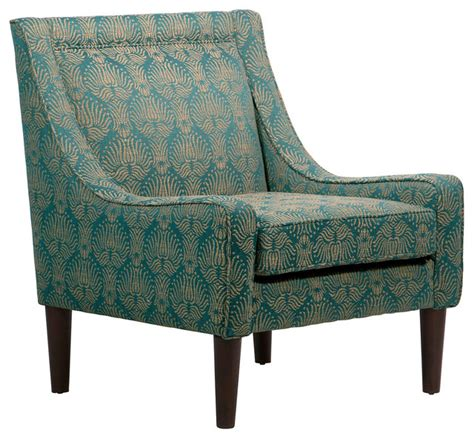 Teal Print Chair Swoop Arm Chair Teal Gold Midcentury Armchairs