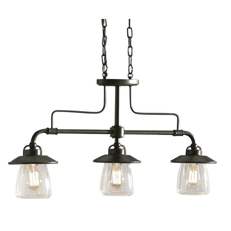 Lowes Lighting For Kitchen Shop Allen Roth Bristow 36 In W 3 Light Mission Bronze Standard Kitchen Island Light With