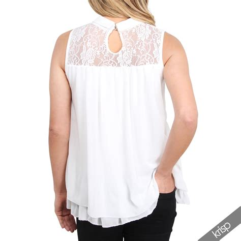 Lace Collar Chiffon Blouse lace collar neck pleated chiffon frilled sleeveless