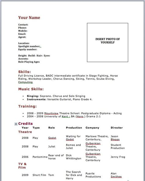 Beginner Resume Template by Acting Resume Beginner Sles Http Www Resumecareer