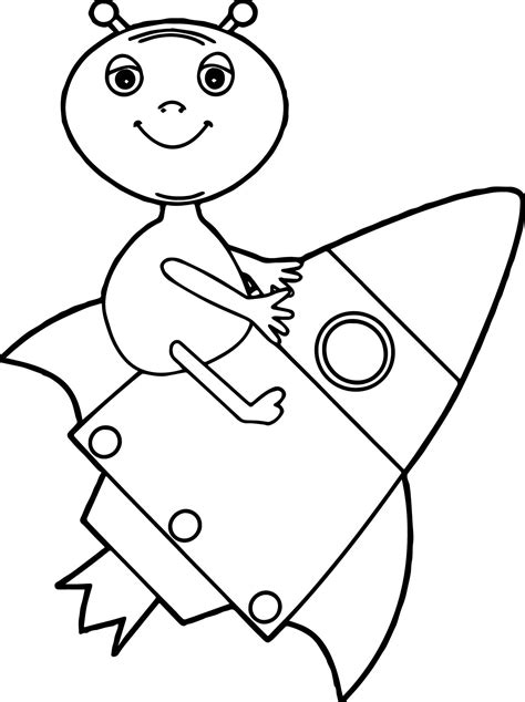 Alien Drawing Rocket Coloring Page | Wecoloringpage.com