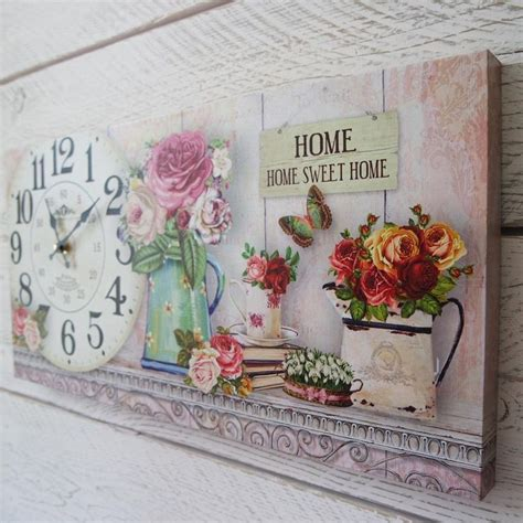 chic printable wall art shabby chic wooden home sweet home wall clock on floral