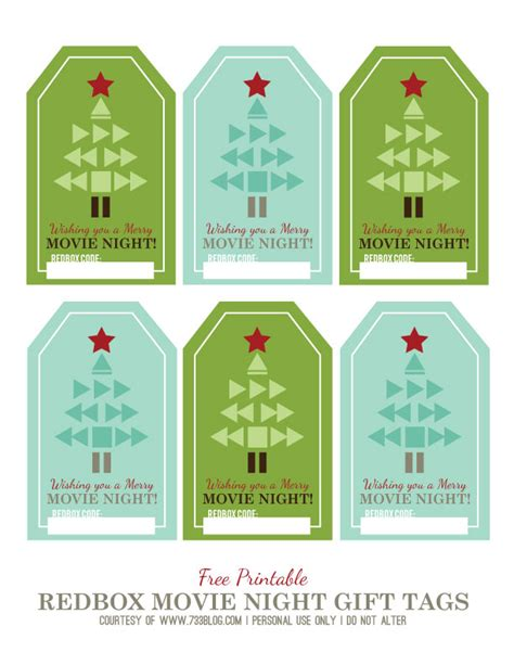 printable redbox gift tags printable holiday movie night gift tags seven thirty three