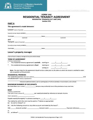 free printable lease agreement australia form 1aa fill online printable fillable blank pdffiller
