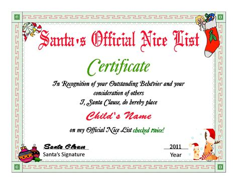 santa nice list certificates santa s nice list