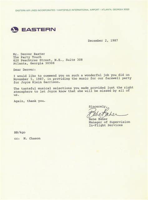 Letter Recommendation Retired 12 2 87 Eastern Airlines Retirement Bebe Baker