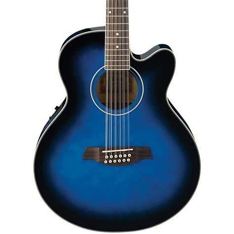 Senar Gitar Guitar String Accoustic Electric ibanez ael152etbs 12 string cutaway acoustic electric guitar transparent blue sunburst music123