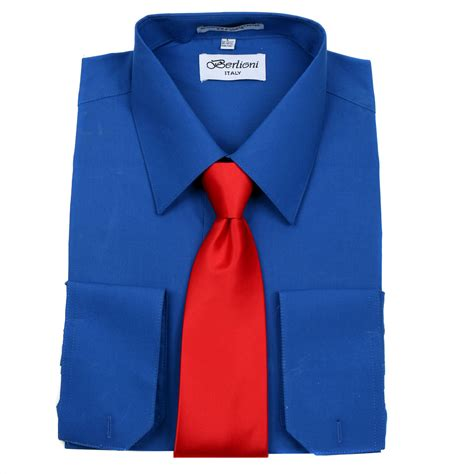 Blue Dress Shirt Tie by S Berlioni Business Cuff Tie Set Dress Shirt