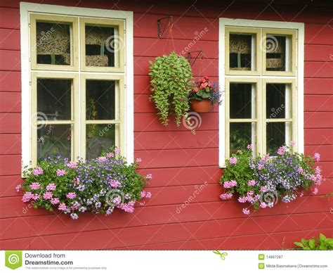 win with flower windows with flowers royalty free stock photography