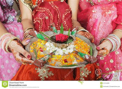 Home Design Rajasthani Style beautifully decorated mehendi henna plate stock photo