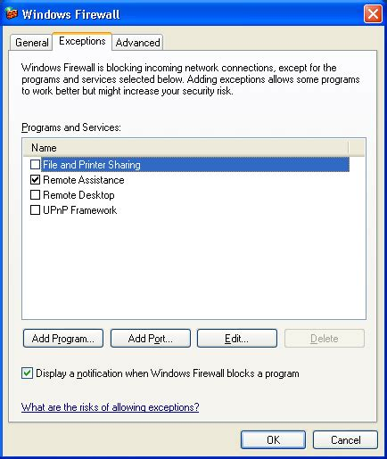 configure xp mysql server windows xp firewall settings