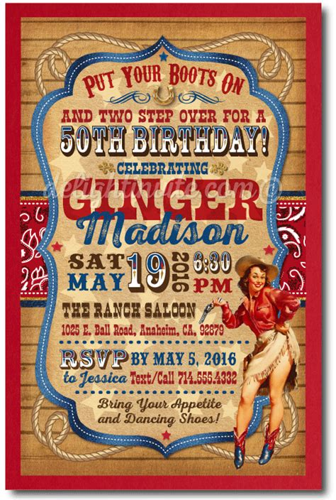 western themed birthday ecards vintage pin up cowgirl 50th birthday party invitations di