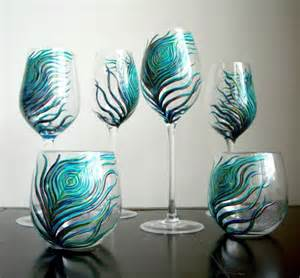 Unique Glassware Unique Concepts Design Peacock Stemless Glasses