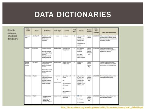 data dictionary template metadata lecture 9 17 14