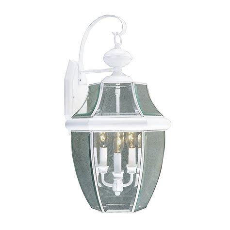White Outdoor Lighting Shop Livex Lighting Monterey 22 25 In H White Outdoor Wall Light At Lowes