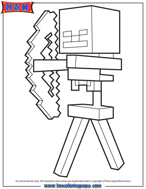 minecraft coloring pages monsters skeleton and arrow from minecraft game coloring page