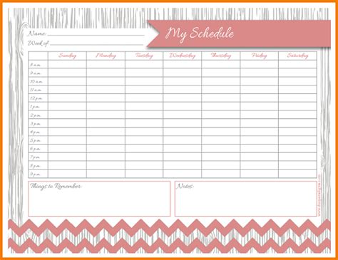 4 Printable Weekly Schedule Expense Report My Daily Schedule Template