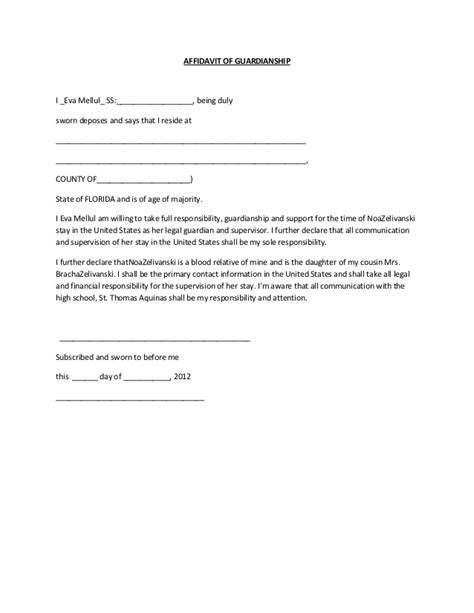 Proof Of Guardianship Letter New Affidavit Form For Guardianship Form