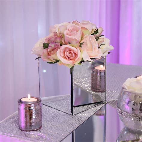 square mirrored vase beyond expectations weddings events