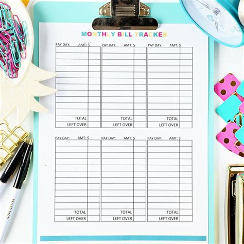monthly bill tracker digital budget mom