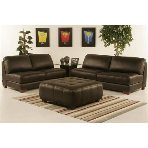 Tufted Leather Settee Armless All Leather Tufted Seat Sofa And Loveseat With