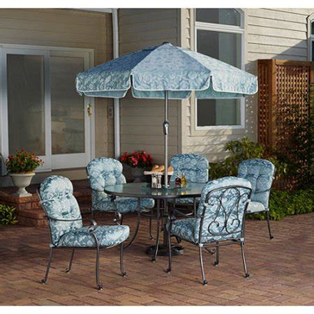 6 patio dining set mainstays willow springs 6 patio dining set blue
