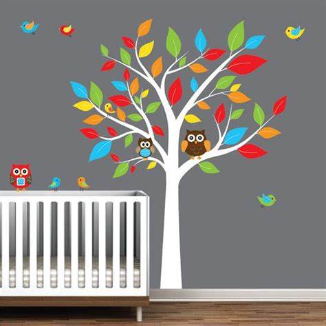 Bird Wall Decals For Nursery Children Nursery Wall Decal Stickers Owl And Birds Tree Nursery Baby Decals E116 Wall Decal
