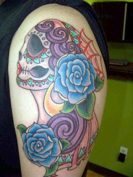 skull and rose tattoo meaning mexican sugar skull maiden with blue roses ink