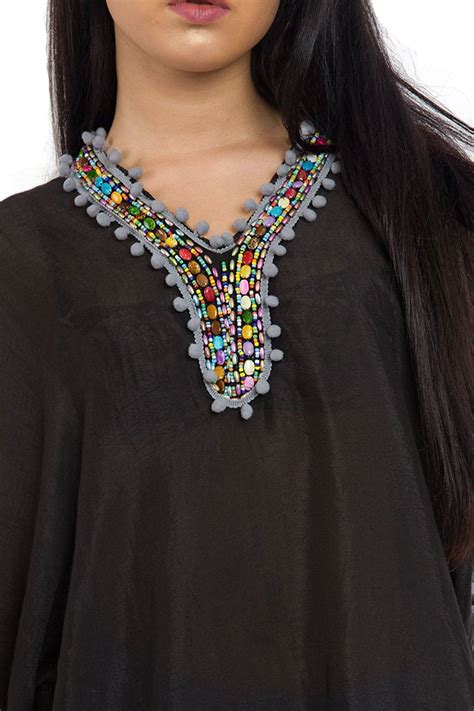 beaded kaftan tops womens lightweight pom beaded kaftan dress top