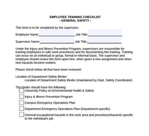 Training Checklist Template 7 Download Documents In Pdf Word Free Injury And Illness Prevention Program Template