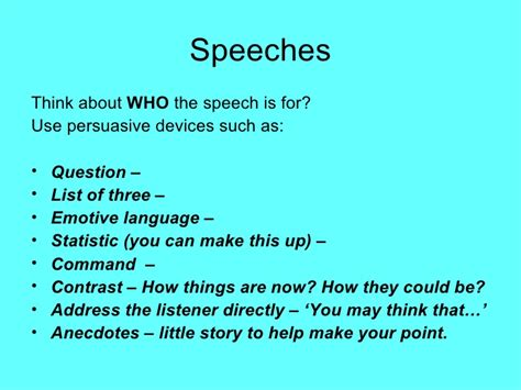 exles of layout speech english language revision