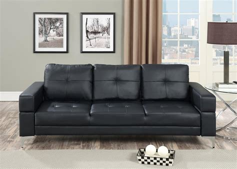 black leather sofa futon black faux leather futon adjustable sofa bed