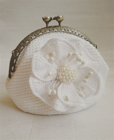 crochet pattern for bridal bag bridal purse crochet white coin purse metal kiss gift for her