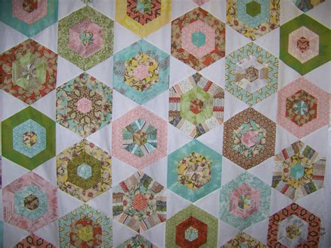 Hexagon Quilt by Cape Pincushion Curio Hexagon Quilt Top Finished