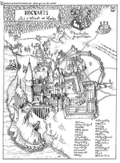 marauders map coloring page hogwarts engraving line only by gamma ray burst on